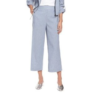 NWT Halogen Chambray Wide Leg Cropped Pants; SZ 14
